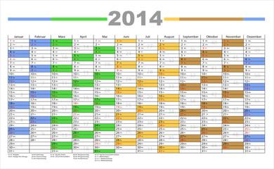 Jahresplaner 2014 incl Kalenderwochen in bunt