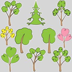 set stylized trees, scribble