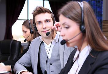 Call center operators at work.