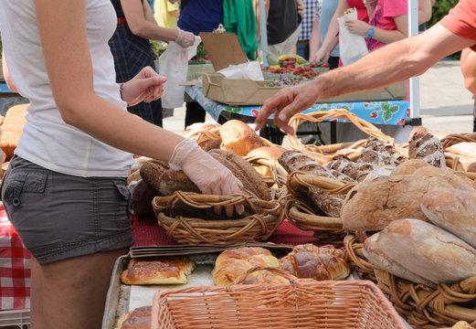 Selling Bread at Farmers Market