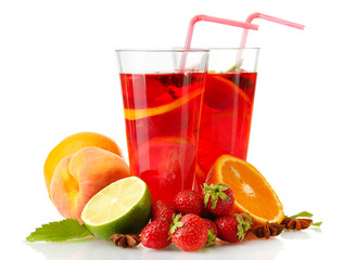 sangria in glasses with fruits, isolated on white