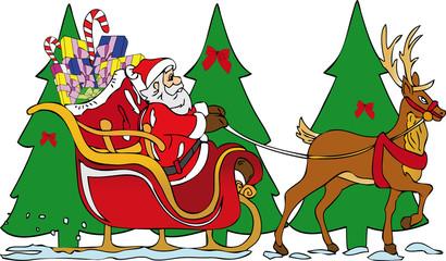Babbo Natale slitta con renna
