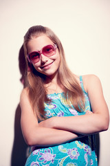 Portrait of a teen girl with sunglasses