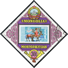 Stamp printed in Mongolia shows man riding on a reindeer