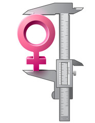 Caliper measures size of female sign. Vector gender concept