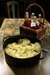 Making the Elderflower cordial - first step