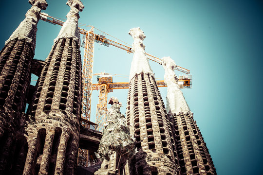 The Sagrada Familia cathedral in Barcelona,Spain