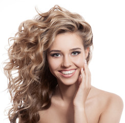Wall Mural - Beautiful smiling woman portrait on white background
