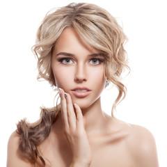 Wall Mural - Beautiful Blonde Girl. Healthy Long Curly Hair.
