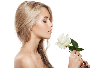 Wall Mural - Beautiful Blond Girl With White Rose