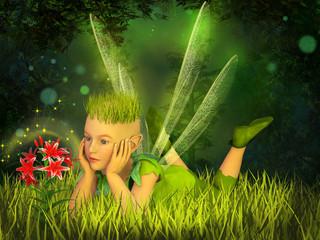 Foto op Aluminium Feeën en elfen Elf in the fairy forest