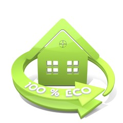 Illustration of a nice house icon  a 100 percent eco
