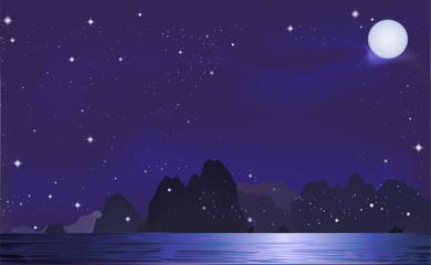 Mountain in the night