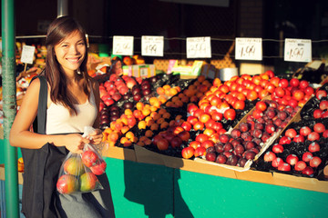 Woman buying fruits and vegetables, farmers market