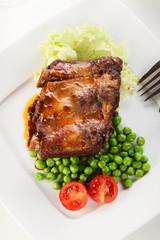 Pork spareribs on plate