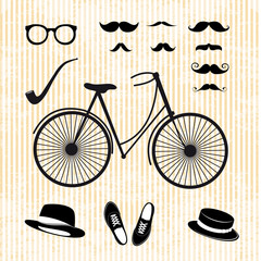 set of the hipster with bicycle