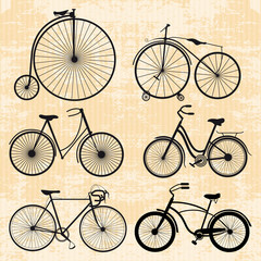 set of bicycles in vintage style