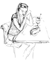 sketch of girl being at a table in a cafe