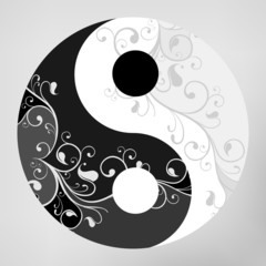 Yin yang pattern symbol on grey background, vector illustration