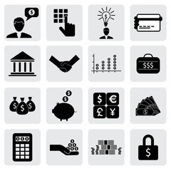 bank & finance icons(signs) related to money, wealth- vector gra