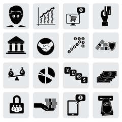 bank & money icons(signs) related to  wealth,assets- vector grap