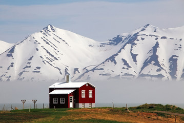 Wall Mural - House at fjord of Iceland