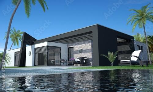 bungalow mit pool stockfotos und lizenzfreie bilder auf bild 54223354. Black Bedroom Furniture Sets. Home Design Ideas