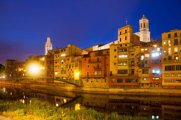 night view of  Onyar and picturesque houses in Girona