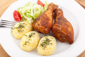 Roasted chicken legs with mashed potatoes