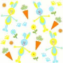 seamless background with bunnies, carrots