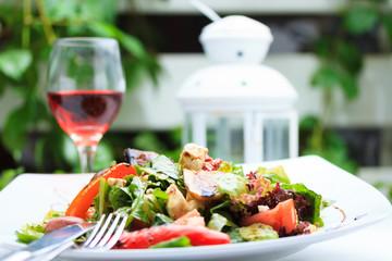 Fresh salad with Greek feta cheese