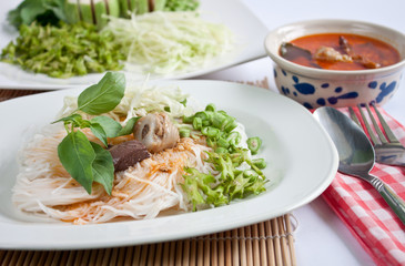 Thai style noodle eaten with curry