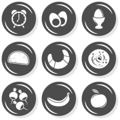 Fototapeta budzik śniadanie jedzenie zestaw szarych płaskich ikon