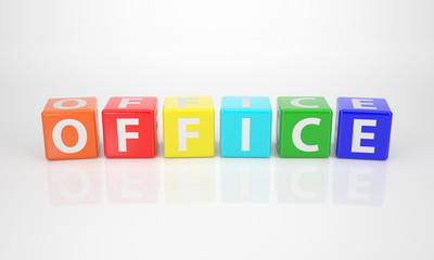 Office out of multicolored Letter Dices