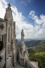 view of roof of church on Tibidabo hill. Barcelona. Spain.