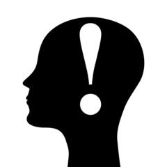 silhouette of a man's head with an exclamation point