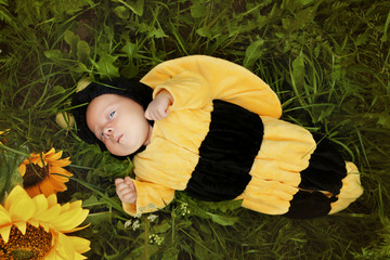 Portrait of baby dressed as bee