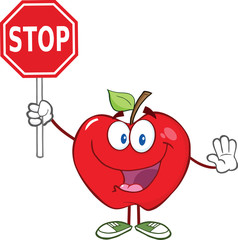 Apple Cartoon Mascot Character Holding A Stop Sign