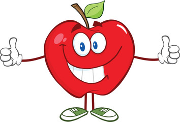 Happy Red Apple Character Giving A Thumb Up