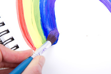 Painting of rainbow on notebook, close-up