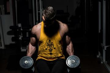 bodybuilder posing with dumbbells