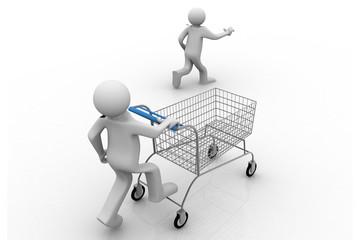 3d man pushing a shopping cart