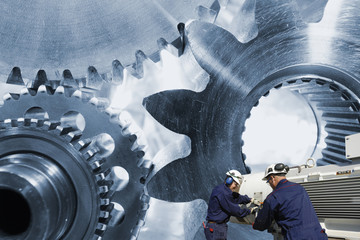 Wall Mural - engineering, machinery and workers, gears and cogs