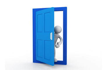 Businessman in open door. Isolated 3D image