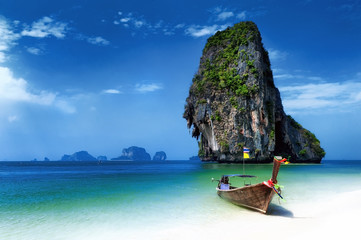 Garden Poster Tropical beach Thailand beach in tropical island. Travel boats at summer in sea