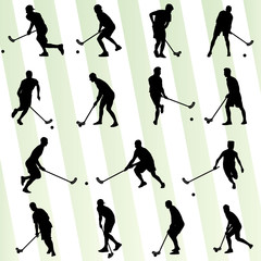 Floorball player vector silhouette background sport set