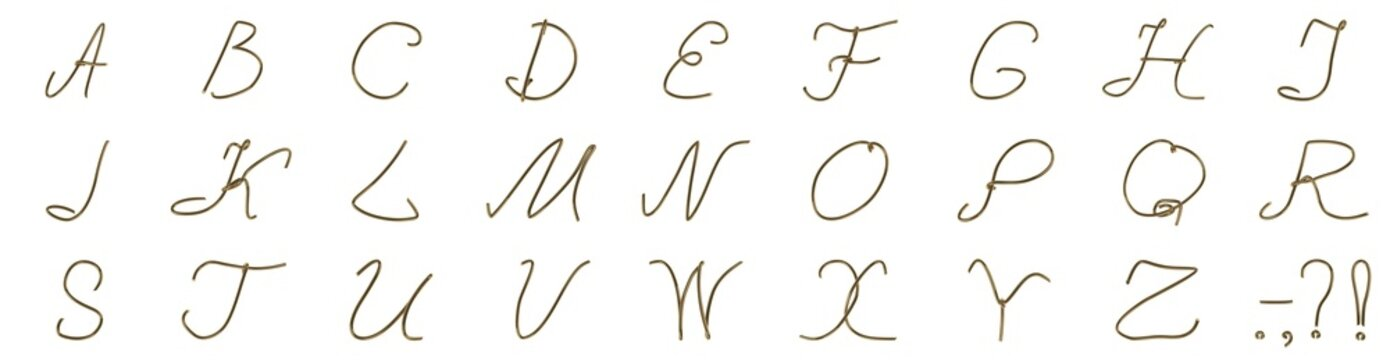 A set of letters from a golden wire