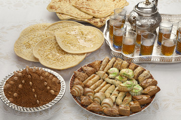 Traditional Moroccan tea at id-al-fitr the end of Ramadan