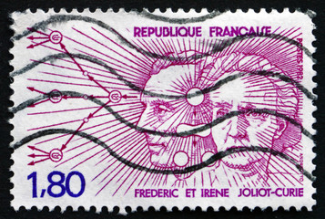 Postage stamp France 1982 Frederic and Irene Joliot-Curie