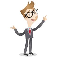 Businessman, explaining, talking, gesturing, pointing